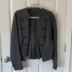 Gray military style short open jacket